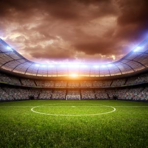 An imaginary stadium is modelled and rendered.